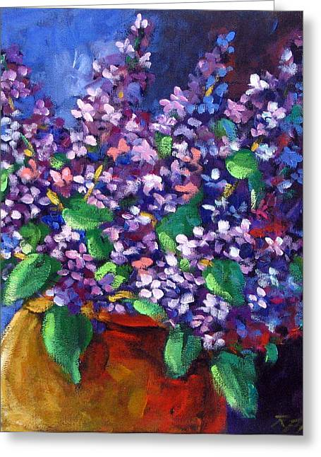 Nature Scene Paintings Greeting Cards - Lilacs Greeting Card by Richard T Pranke