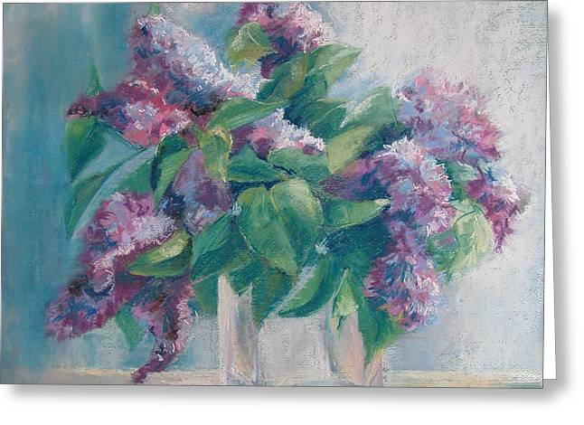 Lilac Pastels Greeting Cards - Lilacs Greeting Card by Synnove Pettersen