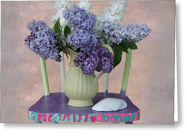 Lilacs With Chair And Shell Greeting Card by Jeff Burgess
