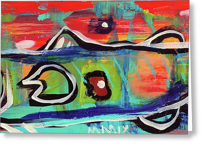Lake House Mixed Media Greeting Cards - LilFunky Folk Fish number seventeen Greeting Card by Robert Wolverton Jr