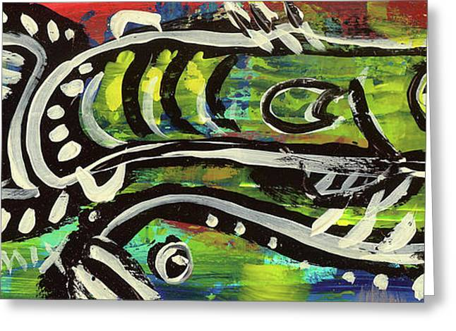 Lake House Mixed Media Greeting Cards - LilFunky Folk Fish number sixteen Greeting Card by Robert Wolverton Jr