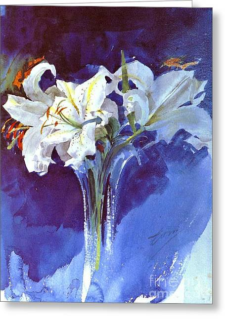 Greeting Cards - Lilies 1900 Greeting Card by Padre Art