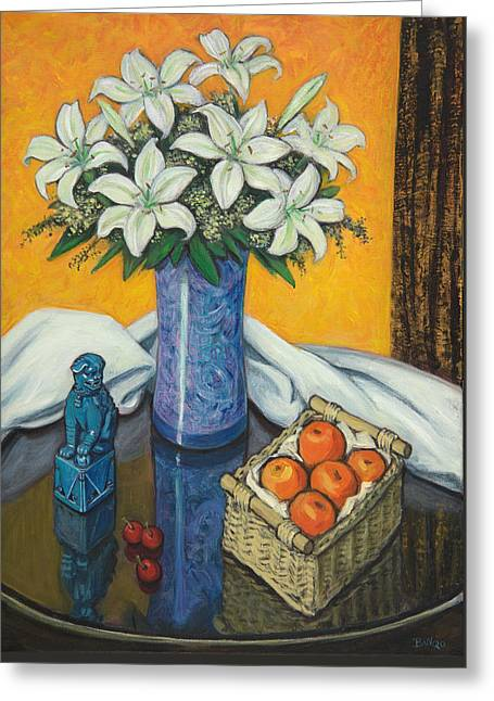 Glass Table Reflection Paintings Greeting Cards - Lilies and Oranges Greeting Card by Sandra Delaney