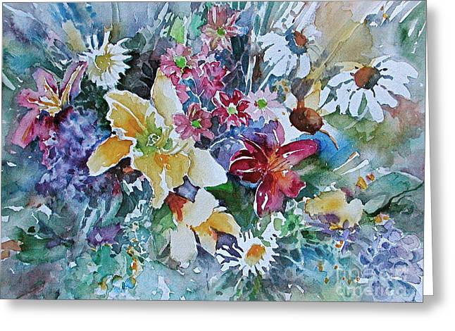 Lilies Daisies Flowers Bouquet Greeting Card by Reveille Kennedy