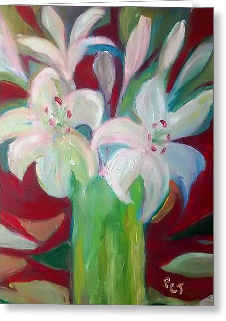 Lilies In A Vase With Red Greeting Card by Patricia Taylor