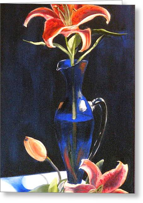 Glass Vase Drawings Greeting Cards - Lilies in Cobalt Greeting Card by Susan A Becker