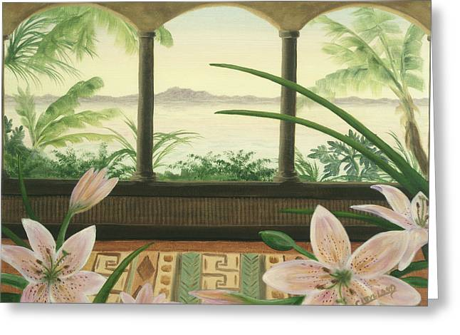 Lilies in Paradise Greeting Card by Cathy Cleveland