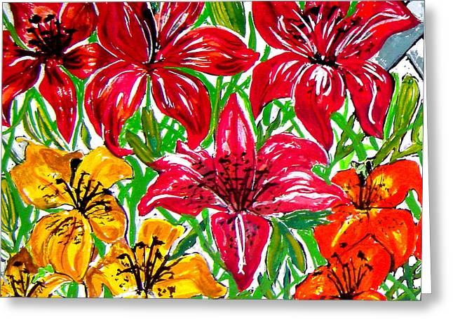 Crimson Drawings Greeting Cards - Lilies Greeting Card by Nancy Rucker
