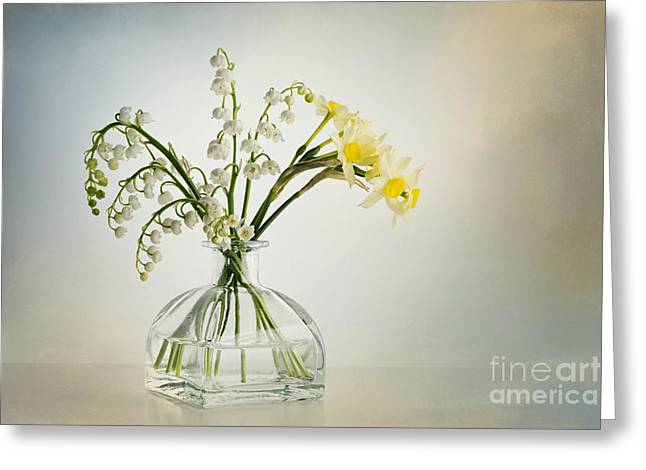 Lilies Of The Valley In A Glass Vase Greeting Card by Ann Garrett
