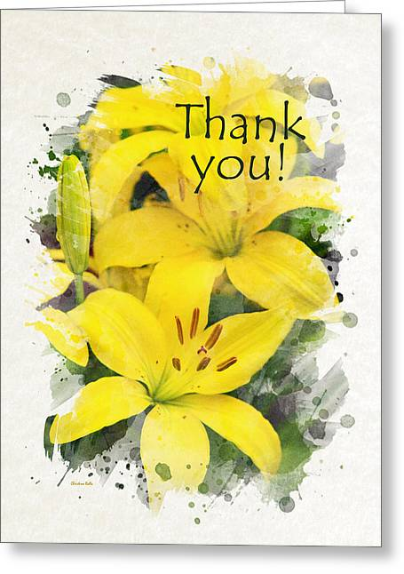 Inside You Greeting Cards - Lilies Watercolor Thank You Card Greeting Card by Christina Rollo