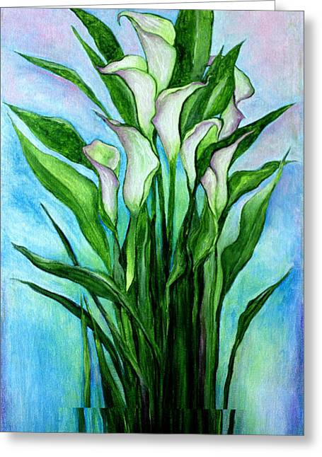 Glass Vase Greeting Cards - Lilies White Greeting Card by Dori Hartley