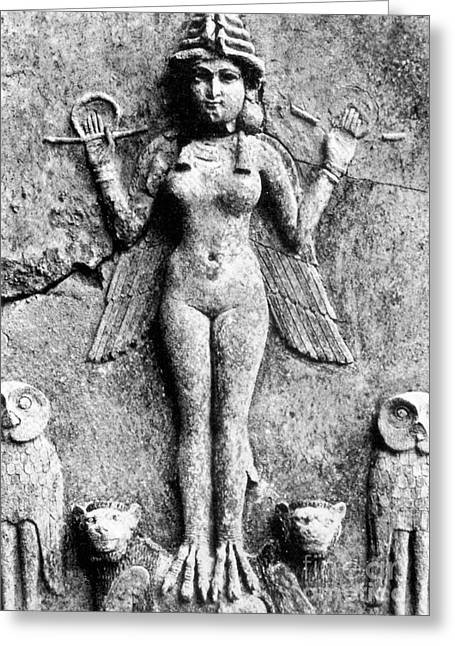 Relief Sculpture Greeting Cards - LILITH, c1950 B.C Greeting Card by Granger