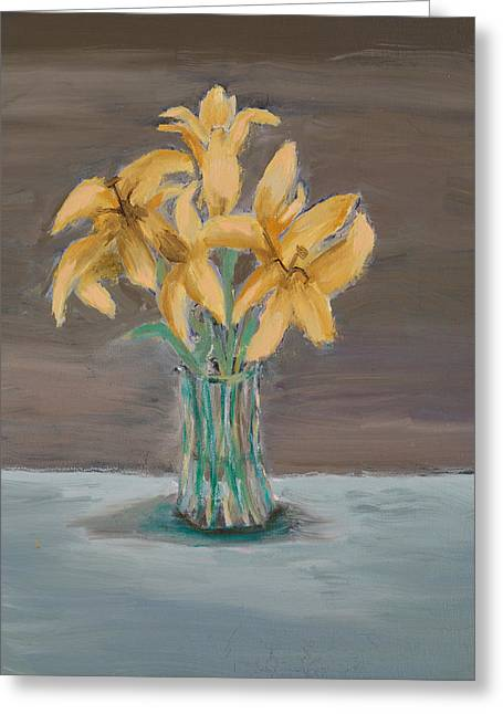 Glass Vase Greeting Cards - Lillies Greeting Card by Carmela Cattuti