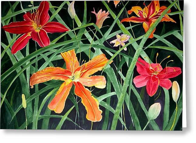 Day Lilly Paintings Greeting Cards - Lilly Jungle Greeting Card by Barbara Porto