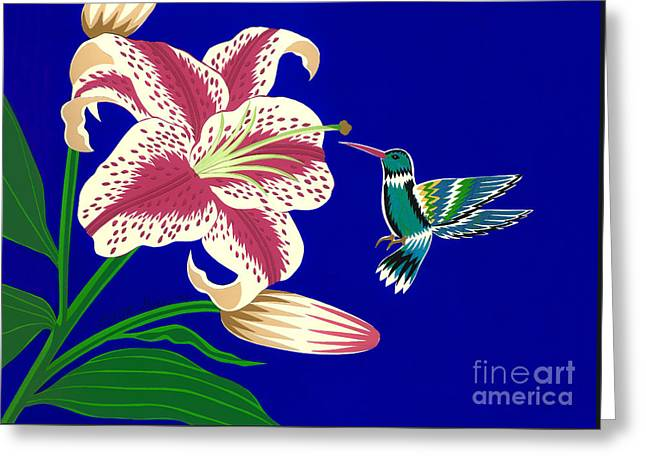 Lily And Hummingbird Greeting Card by Lucyna A M Green