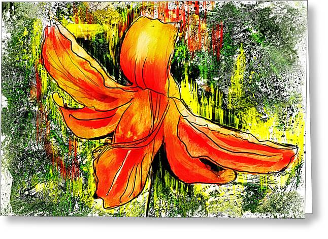 Pen Greeting Cards - Lily and Lines Greeting Card by Jo-Anne Gazo-McKim