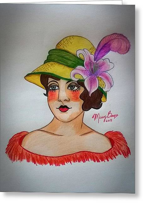 Tattoo Flash Drawings Greeting Cards - Lily From The Hat Series Greeting Card by Missy  Brage