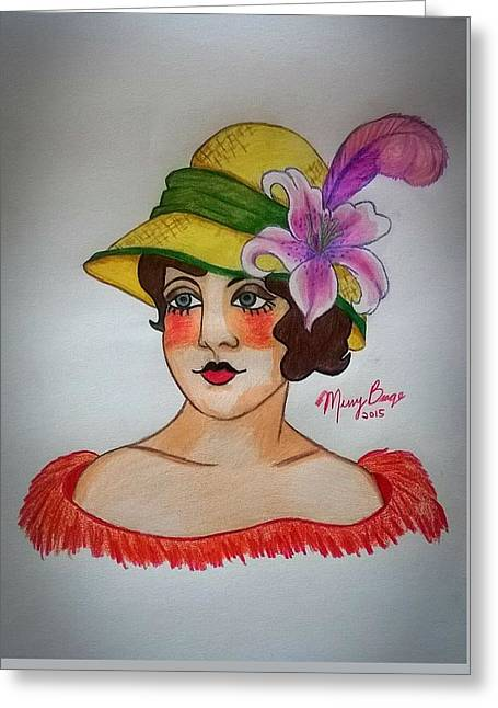 Tattoo Flash Greeting Cards - Lily From The Hat Series Greeting Card by Missy  Brage