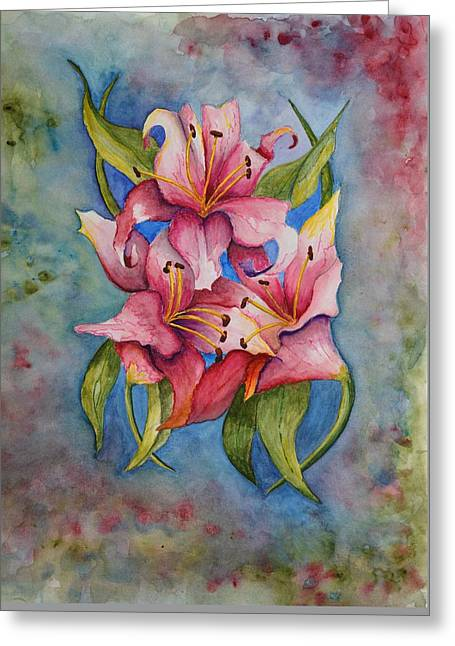 Red Abstracts Greeting Cards - Lily II Greeting Card by Linda Brody