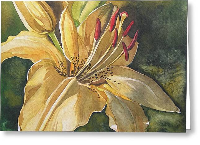 Lily In Yellow Greeting Card by Alfred Ng