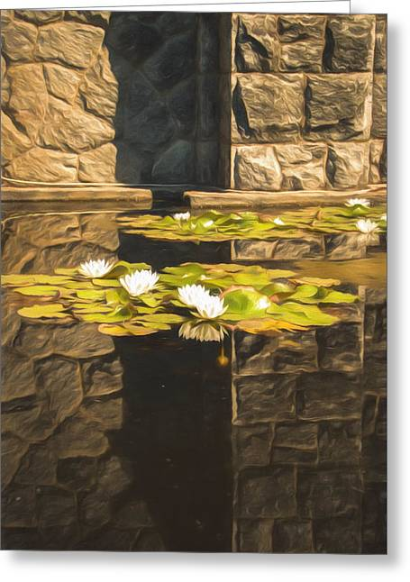 Lilly Pad Greeting Cards - Zen Reflections - digitally painted Greeting Card by Marilyn Wilson