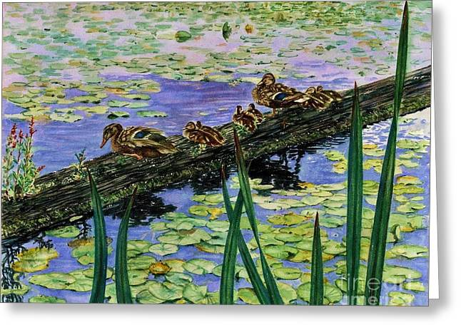Baby Mallards Paintings Greeting Cards - Lily Marsh Family Greeting Card by Cynthia Pride