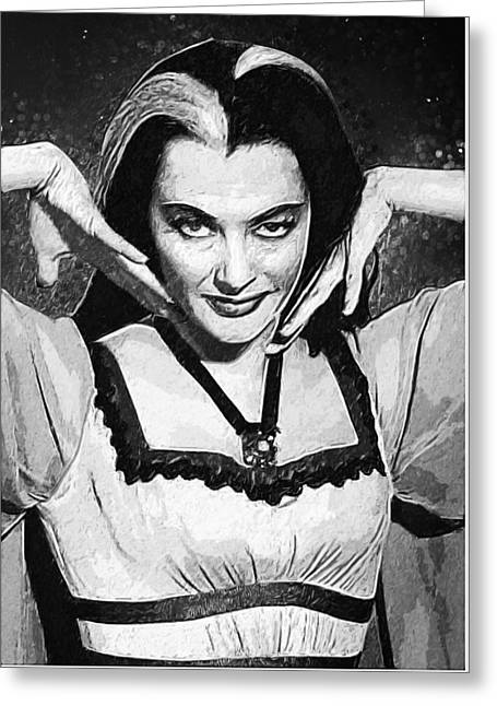 Dracula Digital Greeting Cards - Lily Munster Greeting Card by Taylan Soyturk