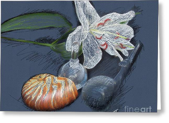 Whale Pastels Greeting Cards - Lily nautilus and glass  Greeting Card by Rosy Hall