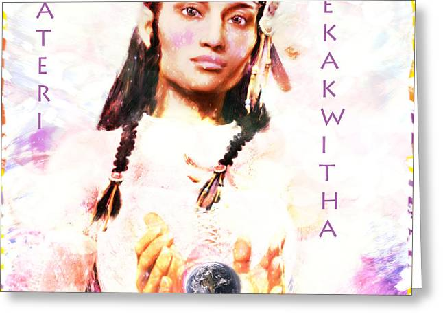 Kateri Tekakwitha Greeting Cards - Lily of the Mohawks 3 Greeting Card by Suzanne Silvir