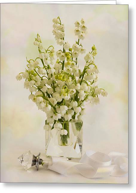 Bottle Of Perfume Greeting Cards - Lily Of The Valley Perfume Greeting Card by Sandra Foster
