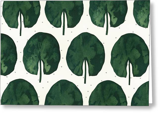Dots Greeting Cards - Lily Pad Leaves On Dotted Background Greeting Card by Gillham Studios