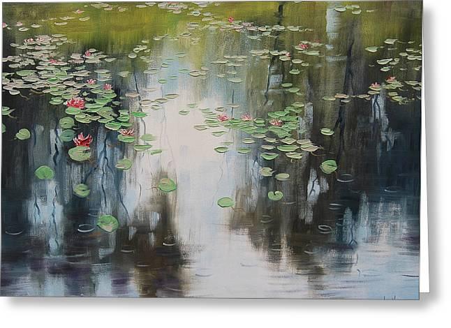 Lily Pond Greeting Cards - lily Pond  Greeting Card by Graham Gercken
