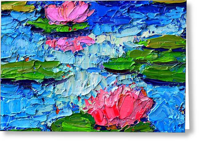 Autumn Leaf On Water Paintings Greeting Cards - Lily Pond Impression 7 Greeting Card by Ana Maria Edulescu