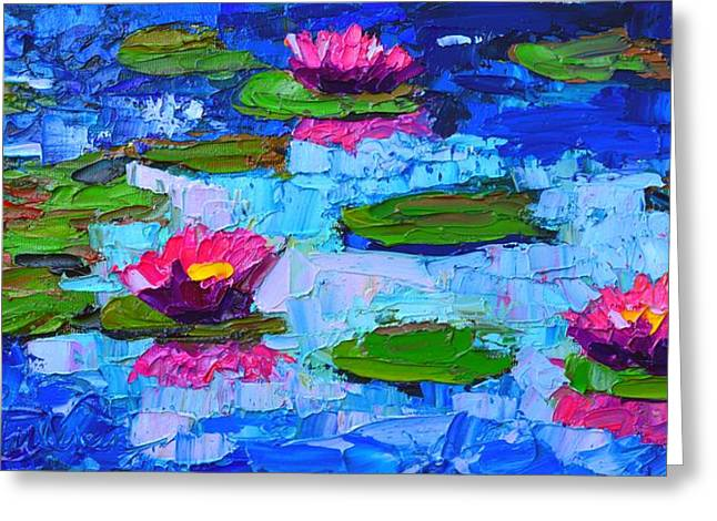 Autumn Leaf On Water Paintings Greeting Cards - Lily Pond Impression - Pink Waterlilies  Greeting Card by Ana Maria Edulescu