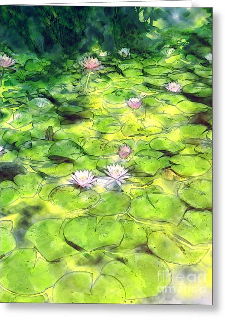 Water Lilly Digital Greeting Cards - Lily Pond Greeting Card by Methune Hively