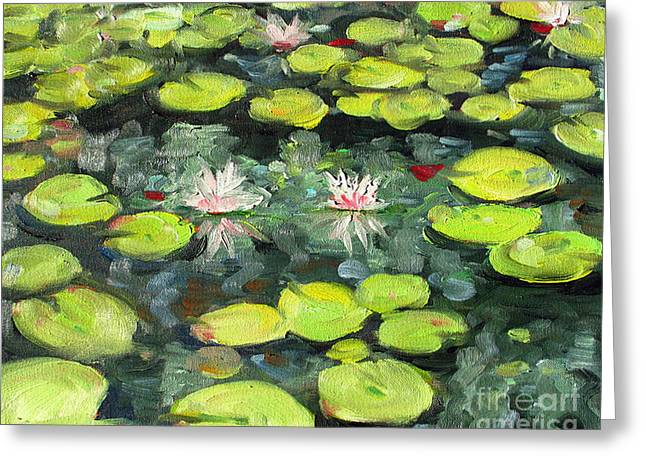 Lily Pond Greeting Card by Paul Walsh