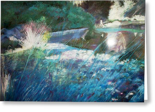 Water Lilly Pastels Greeting Cards - Lily Pond Statue and Gardens Greeting Card by Anita Stoll