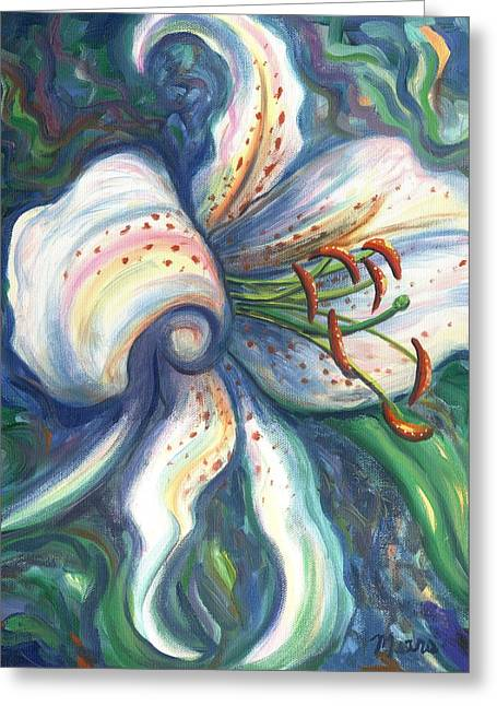 Inspirational Greeting Cards - Lily Three Greeting Card by Linda Mears