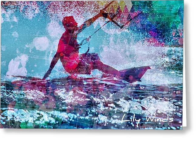 Wind Surfing Art Print Greeting Cards - Lily Winds Kiteboarder - Enjoy Greeting Card by Lily Winds
