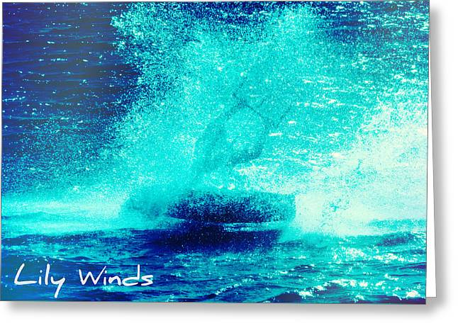 Wind Surfing Art Print Greeting Cards - Lily Winds Kiteboarder Spirit Shine Greeting Card by Lily Winds
