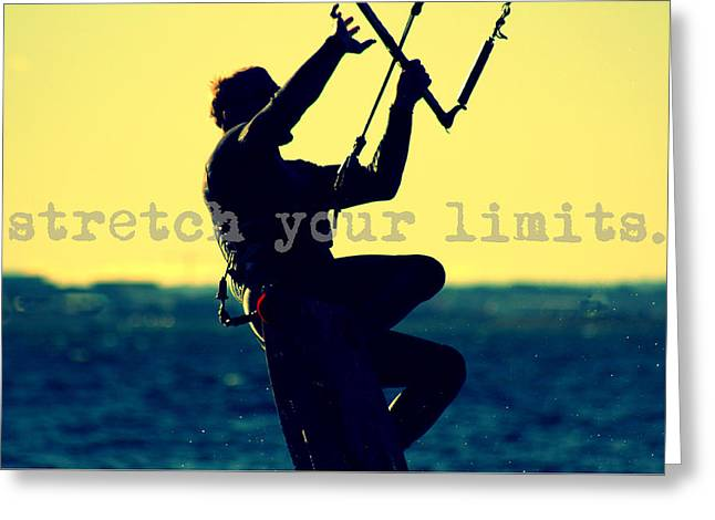 Wind Surfing Art Print Greeting Cards - Lily Winds Kiteboarder - Stretch your limits Greeting Card by Lily Winds