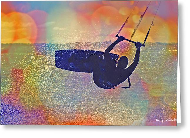 Wind Surfing Art Print Greeting Cards - Lily Winds Kiteboarding - Candy Greeting Card by Lily Winds
