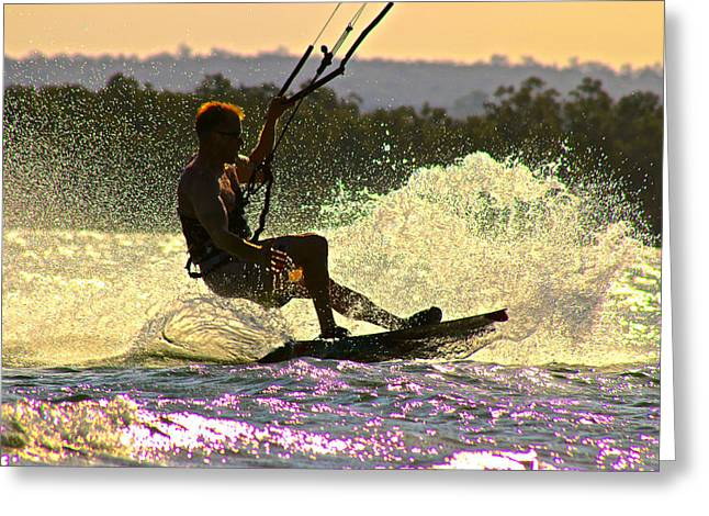 Wind Surfing Art Print Greeting Cards - Lily Winds Kiteboarding - Rainbows Greeting Card by Lily Winds