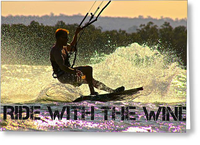 Wind Surfing Art Print Greeting Cards - Lily Winds Kiteboarding Ride Greeting Card by Lily Winds