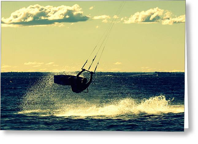 Wind Surfing Art Print Greeting Cards - Lily Winds Kiteboarding Shadows Greeting Card by Lily Winds