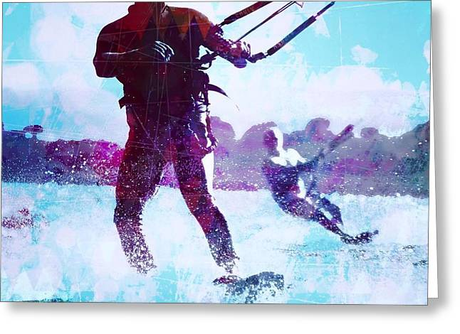 Wind Surfing Art Print Greeting Cards - Lily Winds Kiters Shadows Greeting Card by Lily Winds