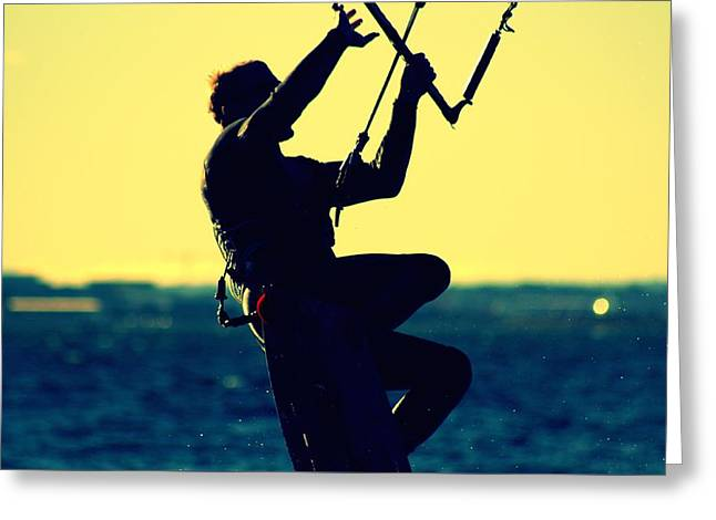 Wind Surfing Art Print Greeting Cards - Lily Winds Kitesurfing Blue Greeting Card by Lily Winds