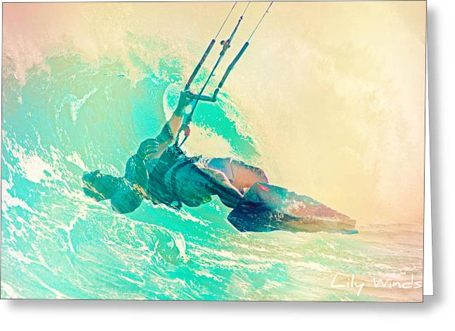 Wind Surfing Art Print Greeting Cards - Lily Winds Kitesurfing - Swell Greeting Card by Lily Winds