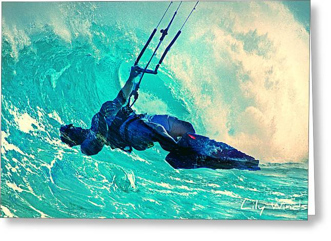 Wind Surfing Art Print Greeting Cards - Lily Winds Kitesurfing - Wave Greeting Card by Lily Winds