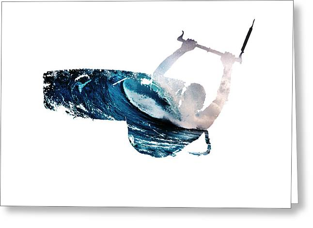 Wind Surfing Art Print Greeting Cards - Lily Winds Kitesurfing White Art Greeting Card by Lily Winds